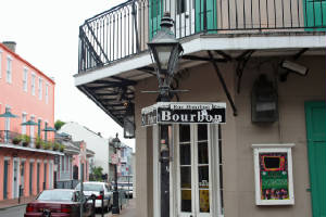 Building and Bourbon St. Sign